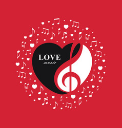 love music red banner vector image