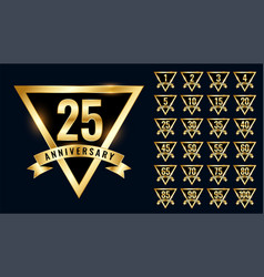luxury golden anniversay labels and emblem vector image