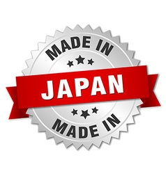 Made in Japan silver badge with red ribbon vector