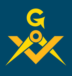 Masonic square and compasses sacral emblem of vector