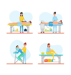 massage techniques and methods icons set vector image