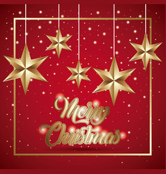 merry christmas card golden stars hanging light vector image