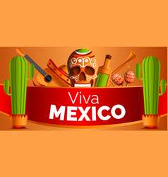 Mexican music concept background cartoon style vector