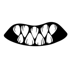 Mouth a monster with sharp fangs vector