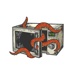 octopus in microwave oven color sketch engraving vector image