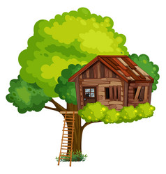 Old treehouse made of wood vector