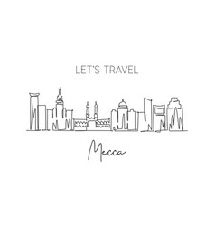 One single line drawing mecca city skyline vector