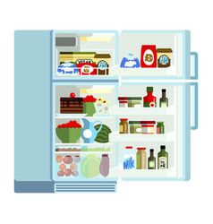 outdoor white refrigerator with products modern vector image