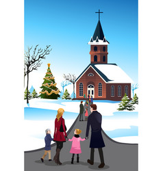 People going to church vector