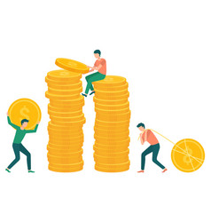 People pulling gold dollar coin to pile money vector