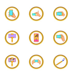 Phone photo icons set cartoon style vector