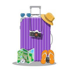 plastic travel bag plastic case with wheels vector image