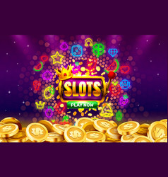 play now slots neon icons casino slot sign vector image