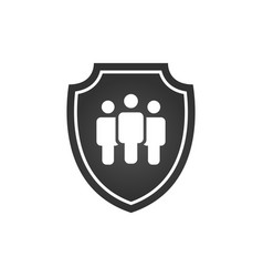 privacy icon flat shield with three people vector image