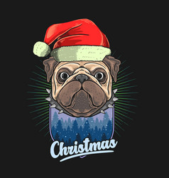 pug head with christmas hat gr vector image
