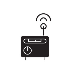 radio receiver black concept icon radio vector image