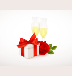 realistic white gift box with red bow ribbon two vector image