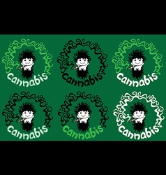 Relaxed rastafarian guy smoking marijuana joint vector