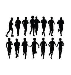 running sport silhouettes vector image