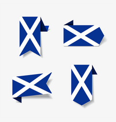 scottish flag stickers and labels vector image
