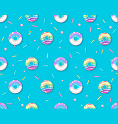 seamless pattern with colorful rainbow donuts vector image