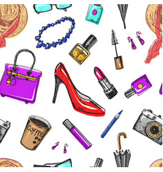 Seamless pattern women s accessories cosmetics vector