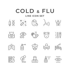 Set line icons cold and flu vector