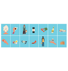 set of essential clothing pieces and accessories vector image