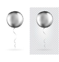 set of silver round shaped foil balloons vector image