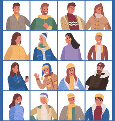 set people posing isolated in warm clothes vector image