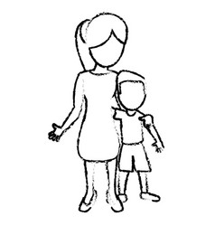 sketch mother and son hugged vector image