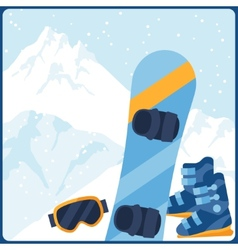 Snowboarding equipment on background of mountain vector image