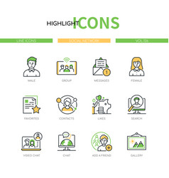 social network - line design style icons set vector image