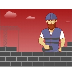 strong builder in overalls and helmet vector image