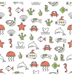 thin line art sea world seamless pattern vector image