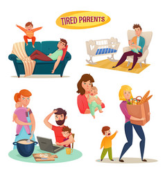 Tired parents isolated decorative elements vector