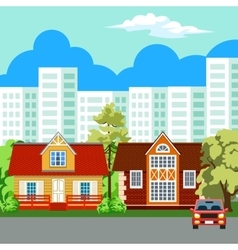 Traditional and modern house Cityscape background vector image