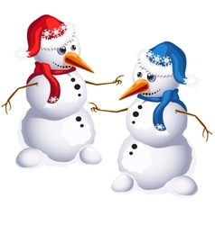 Two traditional snowman in red and blue clothes vector