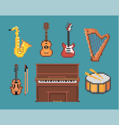 various music pixel instruments icons vector image