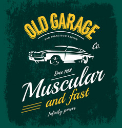 Vintage muscle car logo concept isolated on vector