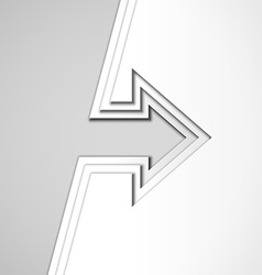 White arrow with cut paper layers vector