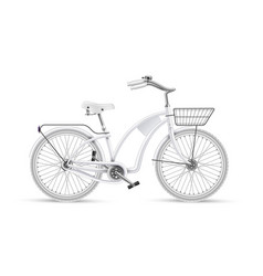 white bicycle realistic 3d isolated mockup vector image