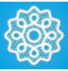 White lacy round napkin in Russian Vologda lace vector image
