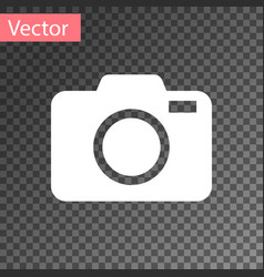 White photo camera icon isolated on transparent vector