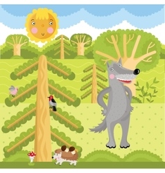 wolf on forest vector image