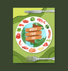 World food day poster design with globe rib vector