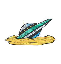 Wrecked crashed ufo sketch vector