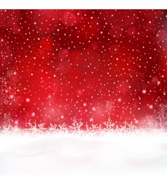 Abstract red Christmas snow background vector image vector image