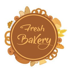 bakery products frame with bread loaf buns vector image