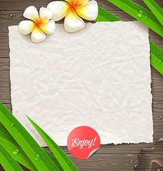 Blank vintage paper with tropical flowers vector image